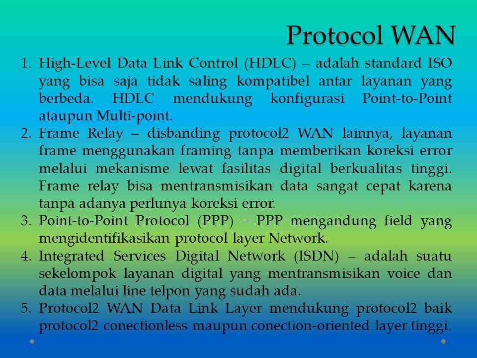 Protocol WAN 1.High-Level Data Link Control (HDLC) – adalah standard ISO yang bisa saja tidak saling kompatibel antar layanan yang berbeda. HDLC mendu