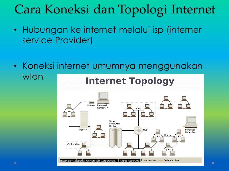 Cara Koneksi dan Topologi Internet Hubungan ke internet melalui isp (interner service Provider) Koneksi internet umumnya menggunakan wlan