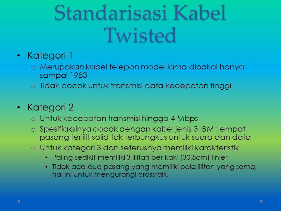 Standarisasi Kabel Twisted Kategori 1 o Merupakan kabel telepon model lama dipakai hanya sampai 1983 o Tidak cocok untuk transmisi data kecepatan ting