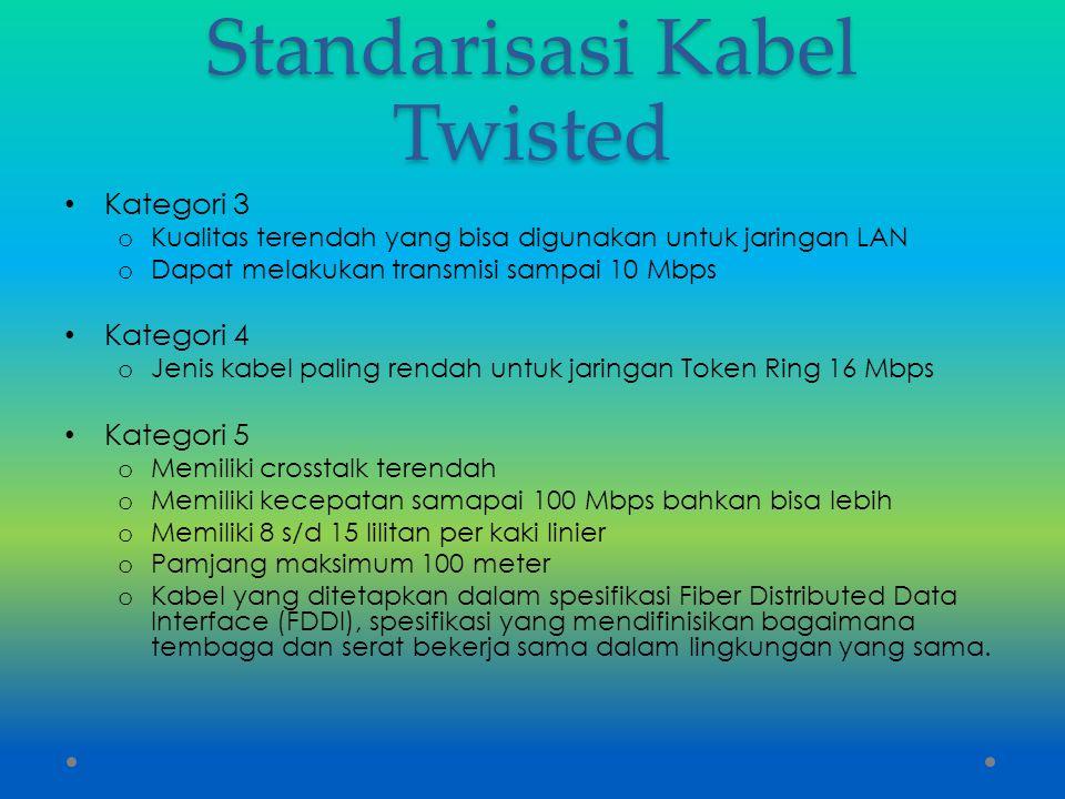 Standarisasi Kabel Twisted Kategori 3 o Kualitas terendah yang bisa digunakan untuk jaringan LAN o Dapat melakukan transmisi sampai 10 Mbps Kategori 4