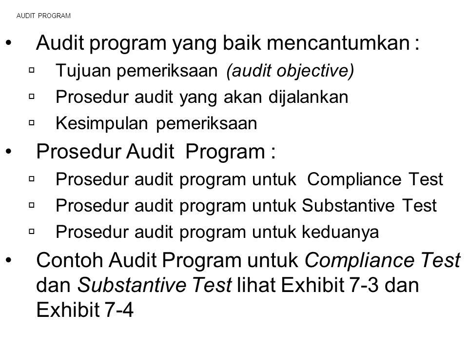 AUDIT PROGRAM Audit program yang baik mencantumkan :  Tujuan pemeriksaan (audit objective)  Prosedur audit yang akan dijalankan  Kesimpulan pemerik