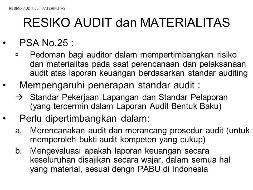 RESIKO AUDIT dan MATERIALITAS PSA No.25 :  Pedoman bagi auditor dalam mempertimbangkan risiko dan materialitas pada saat perencanaan dan pelaksanaan