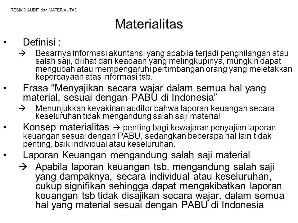 RESIKO AUDIT dan MATERIALITAS Materialitas Definisi :  Besarnya informasi akuntansi yang apabila terjadi penghilangan atau salah saji, dilihat dari k