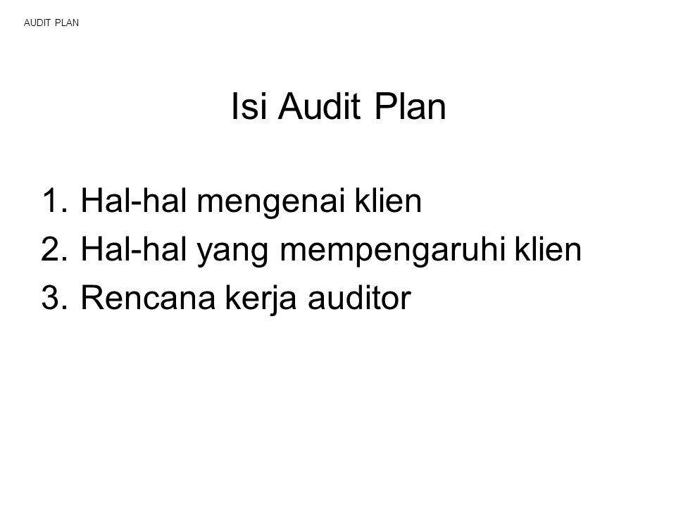 AUDIT PLAN Isi Audit Plan 1.Hal-hal mengenai klien 2.Hal-hal yang mempengaruhi klien 3.Rencana kerja auditor