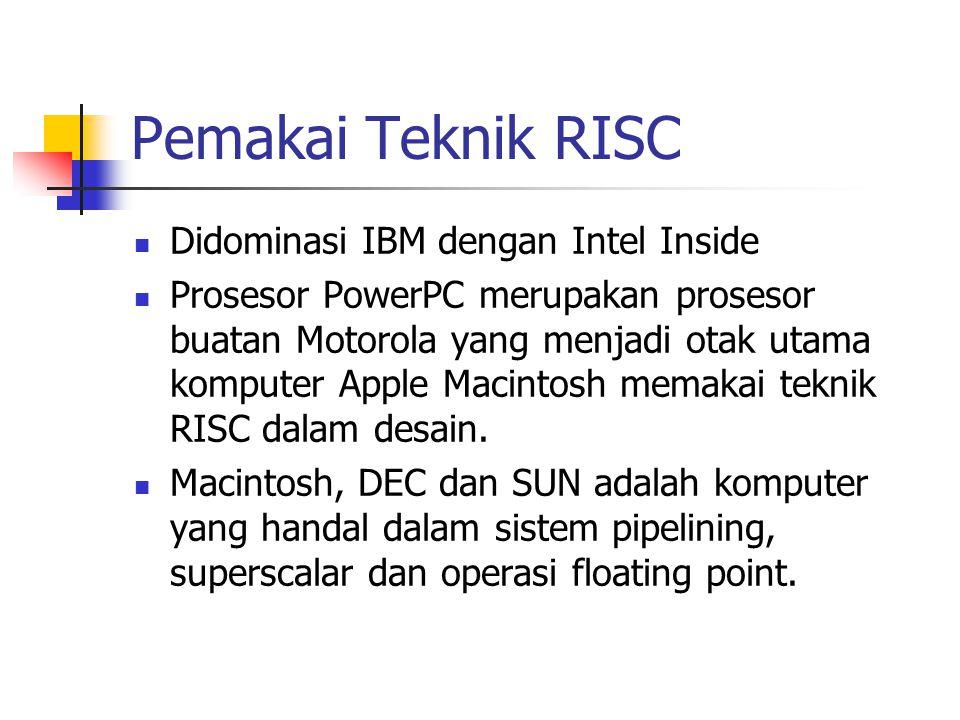 Pemakai Teknik RISC Didominasi IBM dengan Intel Inside Prosesor PowerPC merupakan prosesor buatan Motorola yang menjadi otak utama komputer Apple Maci