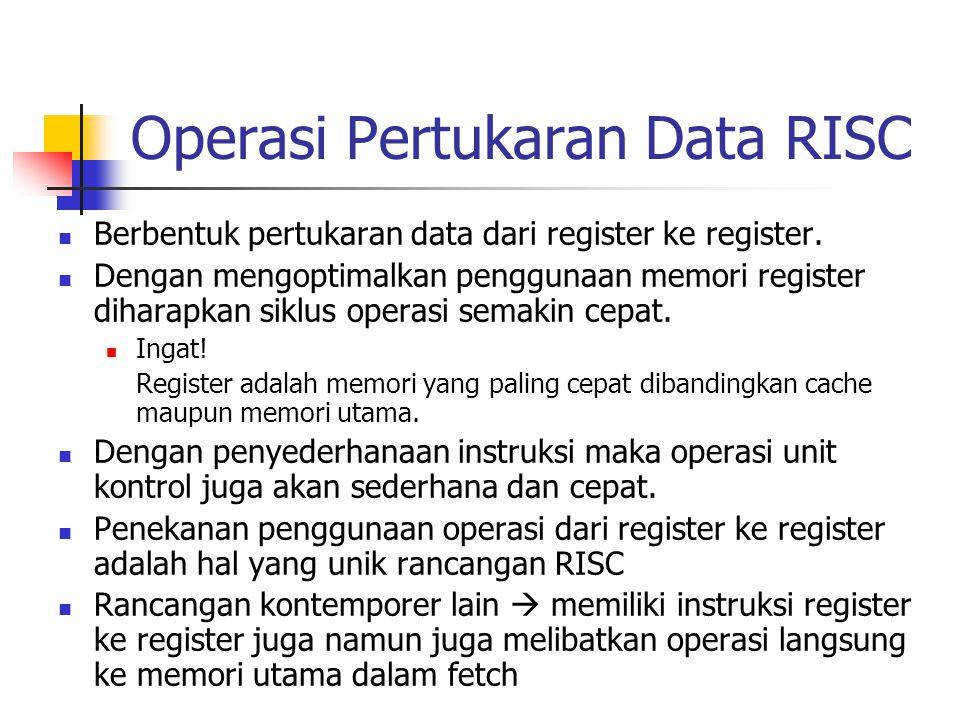 Operasi Pertukaran Data RISC Berbentuk pertukaran data dari register ke register. Dengan mengoptimalkan penggunaan memori register diharapkan siklus o