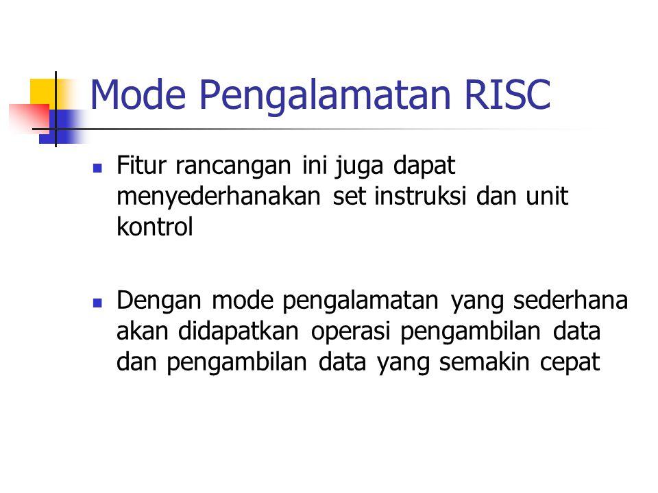 Mode Pengalamatan RISC Fitur rancangan ini juga dapat menyederhanakan set instruksi dan unit kontrol Dengan mode pengalamatan yang sederhana akan dida