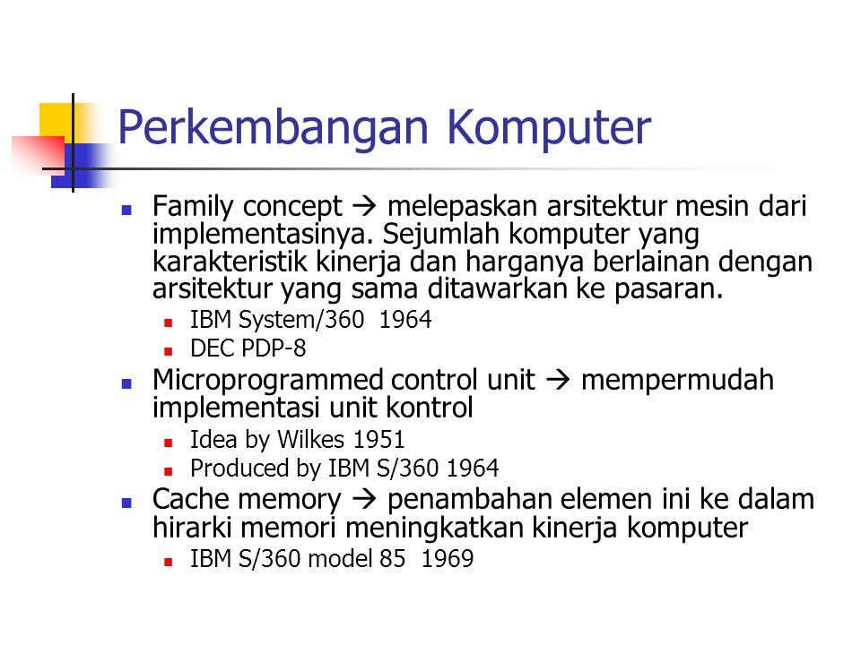 Perkembangan Komputer Family concept  melepaskan arsitektur mesin dari implementasinya. Sejumlah komputer yang karakteristik kinerja dan harganya ber