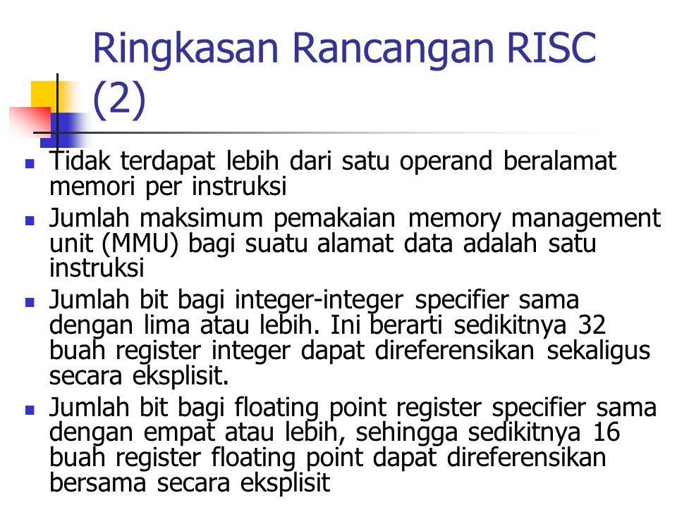 Ringkasan Rancangan RISC (2) Tidak terdapat lebih dari satu operand beralamat memori per instruksi Jumlah maksimum pemakaian memory management unit (M