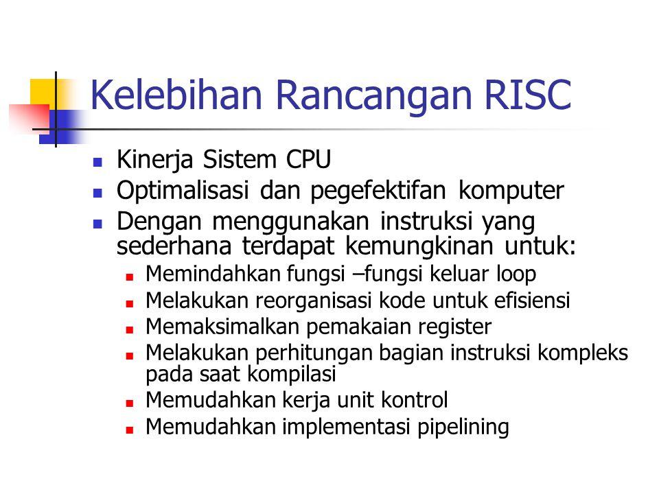 Kelebihan Rancangan RISC Kinerja Sistem CPU Optimalisasi dan pegefektifan komputer Dengan menggunakan instruksi yang sederhana terdapat kemungkinan un