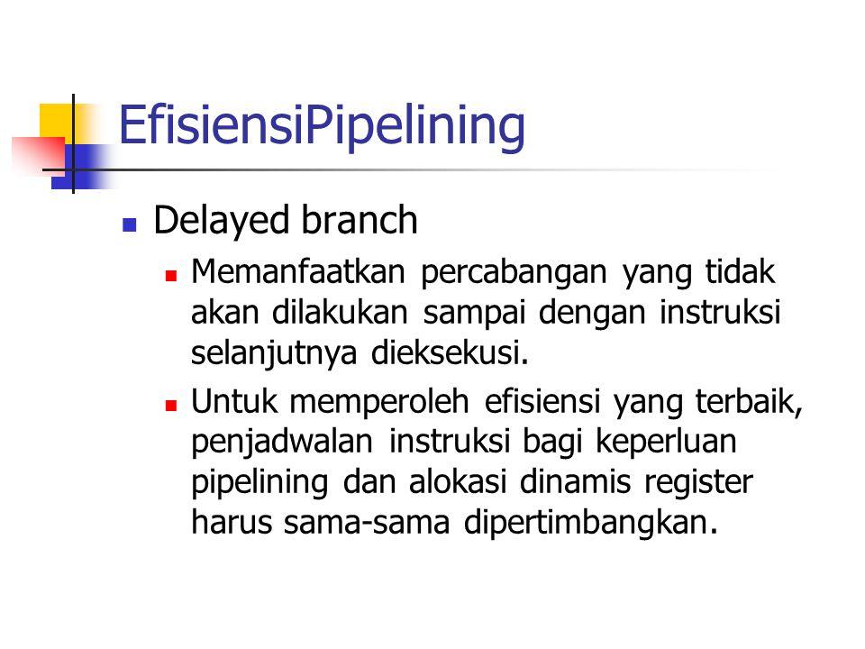EfisiensiPipelining Delayed branch Memanfaatkan percabangan yang tidak akan dilakukan sampai dengan instruksi selanjutnya dieksekusi. Untuk memperoleh