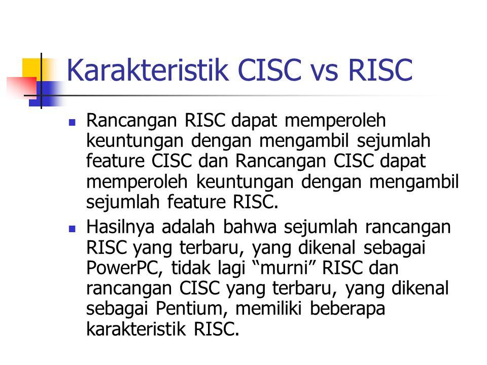Karakteristik CISC vs RISC Rancangan RISC dapat memperoleh keuntungan dengan mengambil sejumlah feature CISC dan Rancangan CISC dapat memperoleh keunt