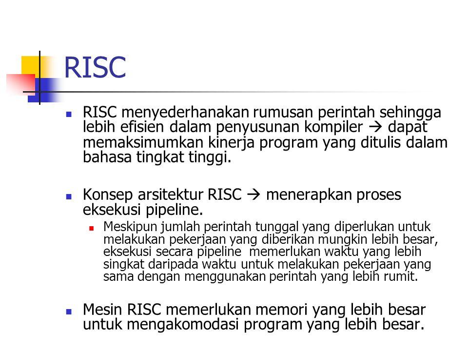 RISC RISC menyederhanakan rumusan perintah sehingga lebih efisien dalam penyusunan kompiler  dapat memaksimumkan kinerja program yang ditulis dalam b