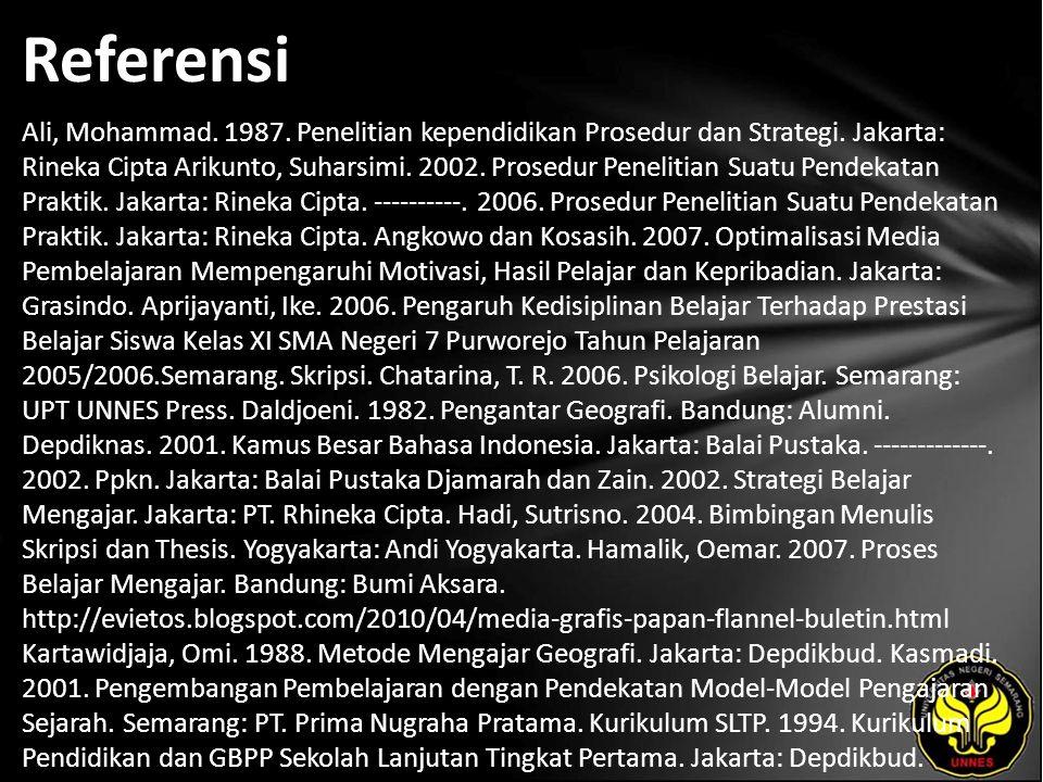 Referensi Ali, Mohammad. 1987. Penelitian kependidikan Prosedur dan Strategi. Jakarta: Rineka Cipta Arikunto, Suharsimi. 2002. Prosedur Penelitian Sua