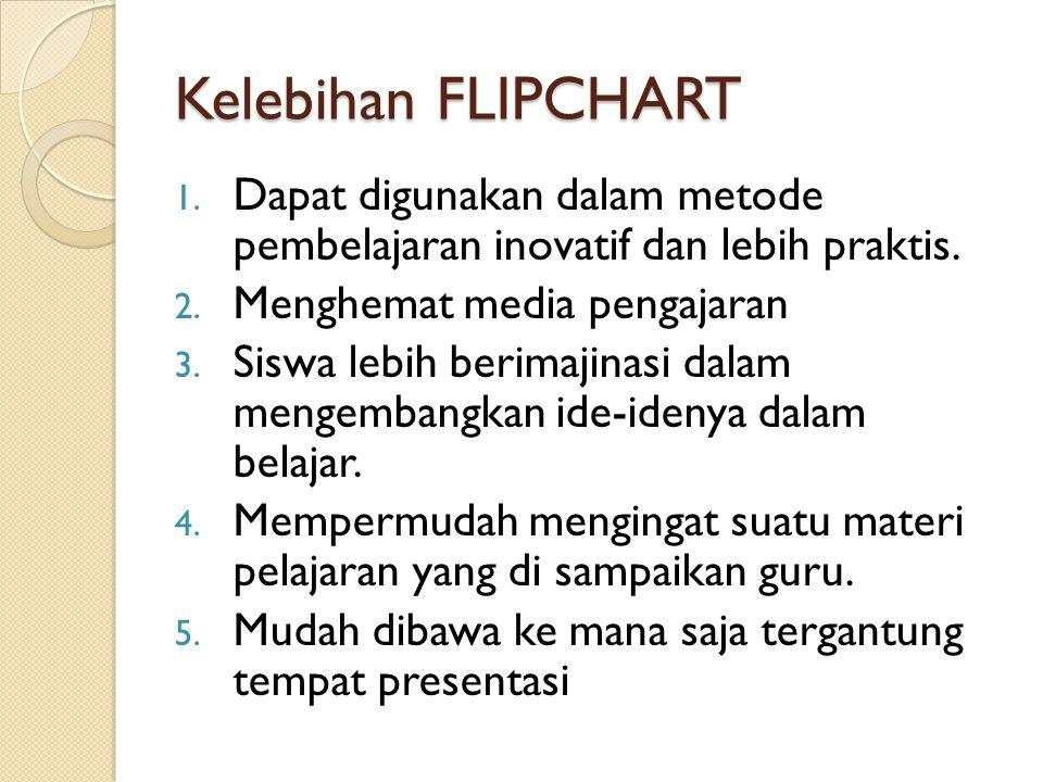 Kelebihan FLIPCHART 1. Dapat digunakan dalam metode pembelajaran inovatif dan lebih praktis. 2. Menghemat media pengajaran 3. Siswa lebih berimajinasi