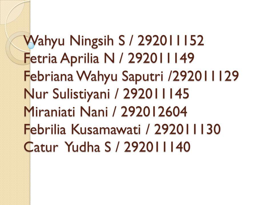 Wahyu Ningsih S / 292011152 Fetria Aprilia N / 292011149 Febriana Wahyu Saputri /292011129 Nur Sulistiyani / 292011145 Miraniati Nani / 292012604 Febr