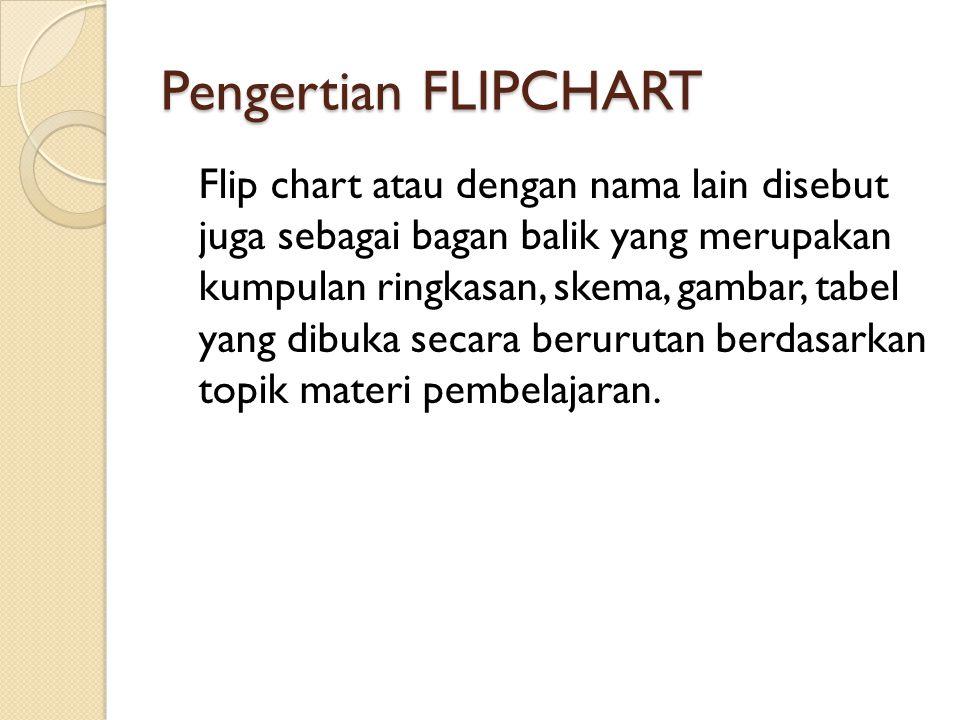 Pengertian FLIPCHART Flip chart atau dengan nama lain disebut juga sebagai bagan balik yang merupakan kumpulan ringkasan, skema, gambar, tabel yang dibuka secara berurutan berdasarkan topik materi pembelajaran.