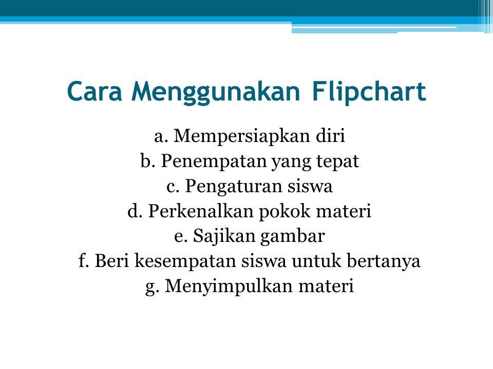 Cara Menggunakan Flipchart a. Mempersiapkan diri b. Penempatan yang tepat c. Pengaturan siswa d. Perkenalkan pokok materi e. Sajikan gambar f. Beri ke