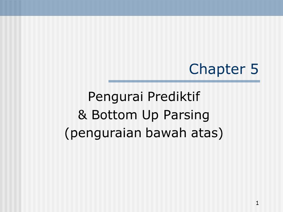1 Chapter 5 Pengurai Prediktif & Bottom Up Parsing (penguraian bawah atas)