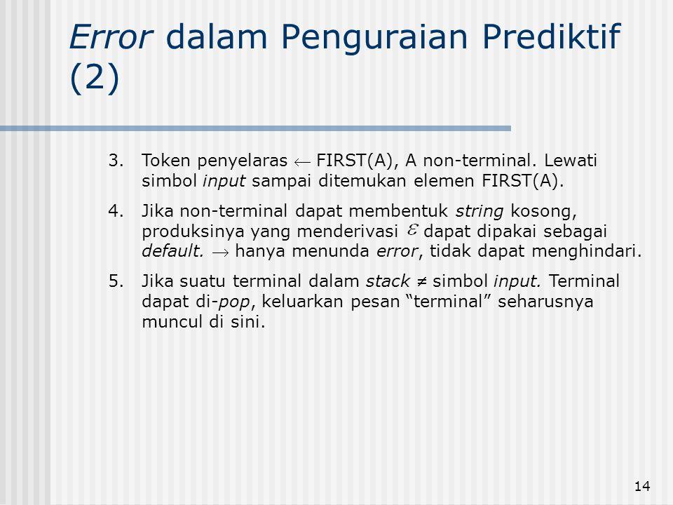 14 Error dalam Penguraian Prediktif (2) 3.Token penyelaras  FIRST(A), A non-terminal. Lewati simbol input sampai ditemukan elemen FIRST(A). 4.Jika no