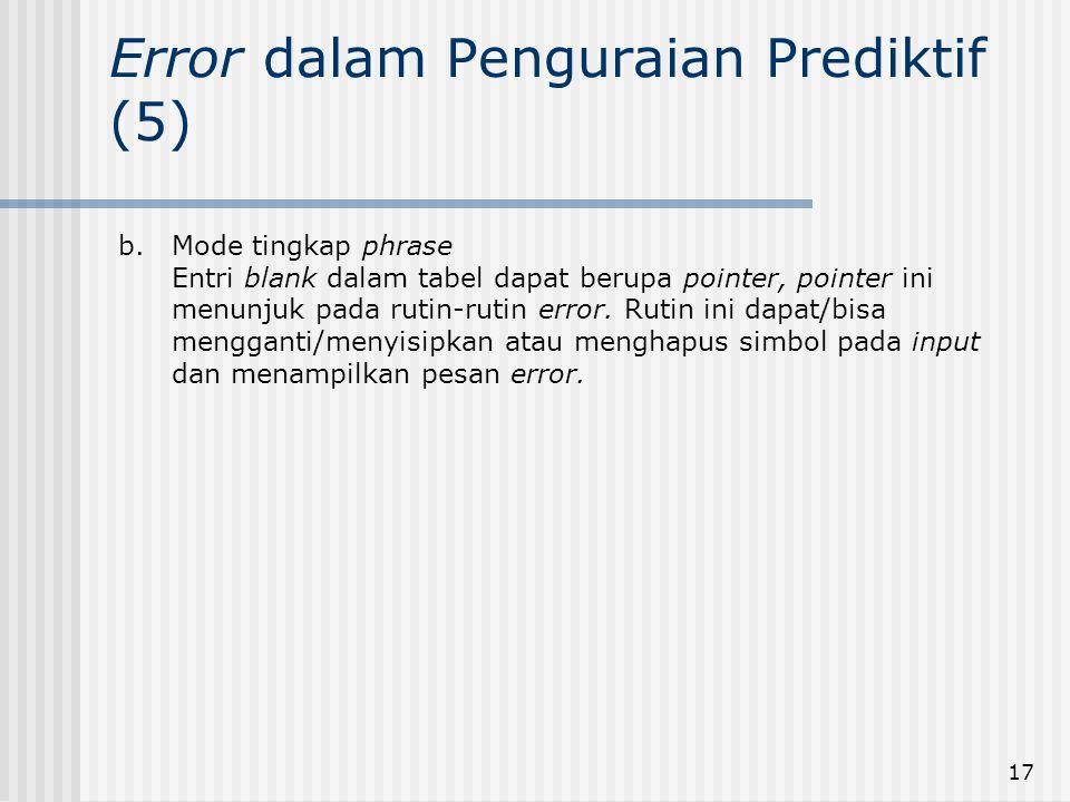 17 Error dalam Penguraian Prediktif (5) b.Mode tingkap phrase Entri blank dalam tabel dapat berupa pointer, pointer ini menunjuk pada rutin-rutin erro