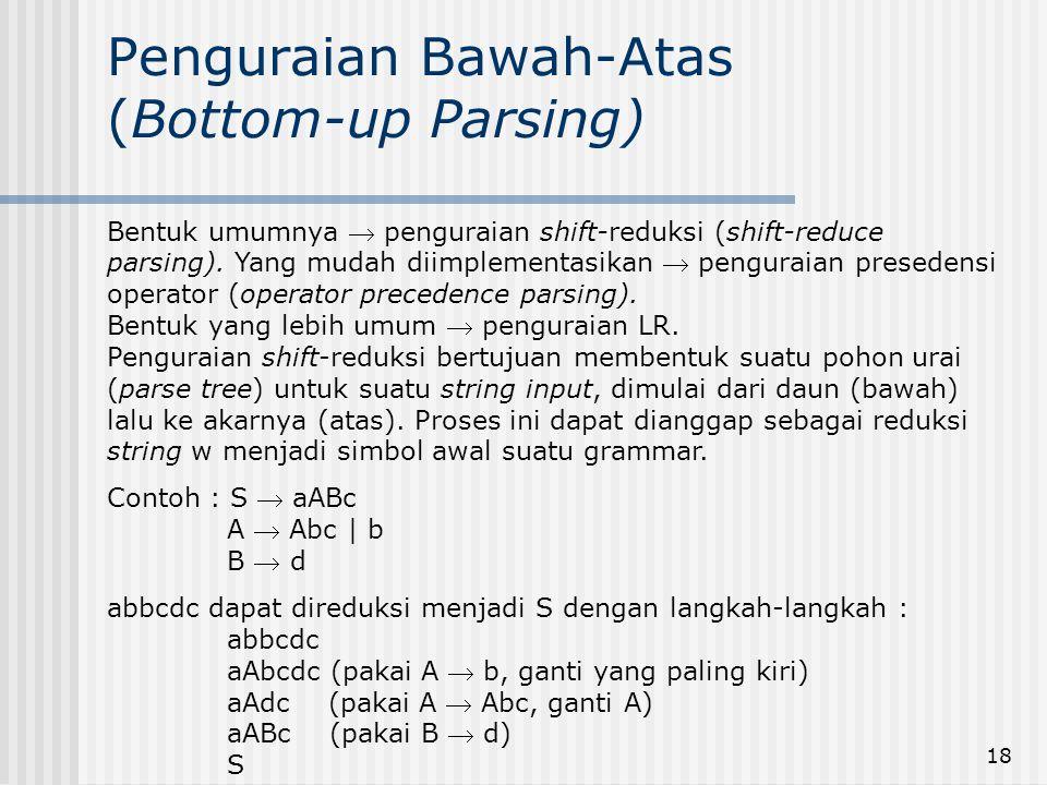 18 Penguraian Bawah-Atas (Bottom-up Parsing) Bentuk umumnya  penguraian shift-reduksi (shift-reduce parsing). Yang mudah diimplementasikan  pengurai