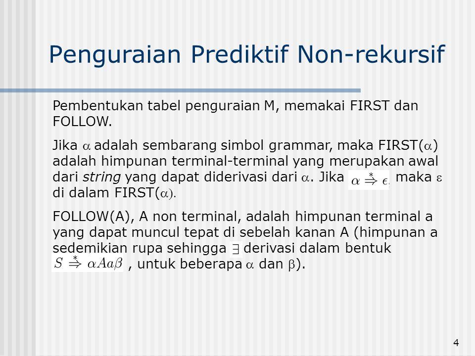4 Penguraian Prediktif Non-rekursif Pembentukan tabel penguraian M, memakai FIRST dan FOLLOW. Jika adalah sembarang simbol grammar, maka FIRST() ad
