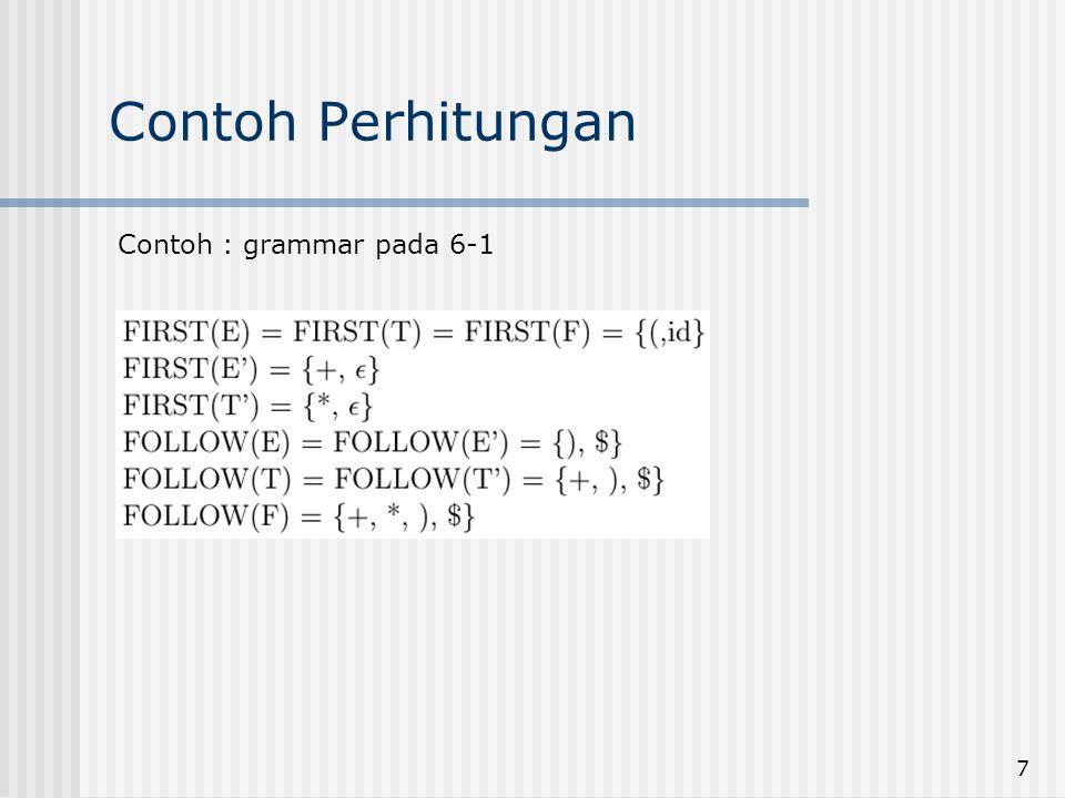 7 Contoh Perhitungan Contoh : grammar pada 6-1