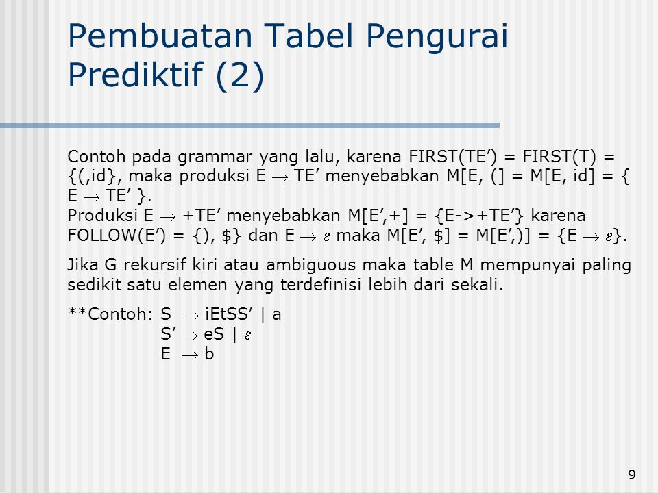 9 Pembuatan Tabel Pengurai Prediktif (2) Contoh pada grammar yang lalu, karena FIRST(TE') = FIRST(T) = {(,id}, maka produksi E  TE' menyebabkan M[E,