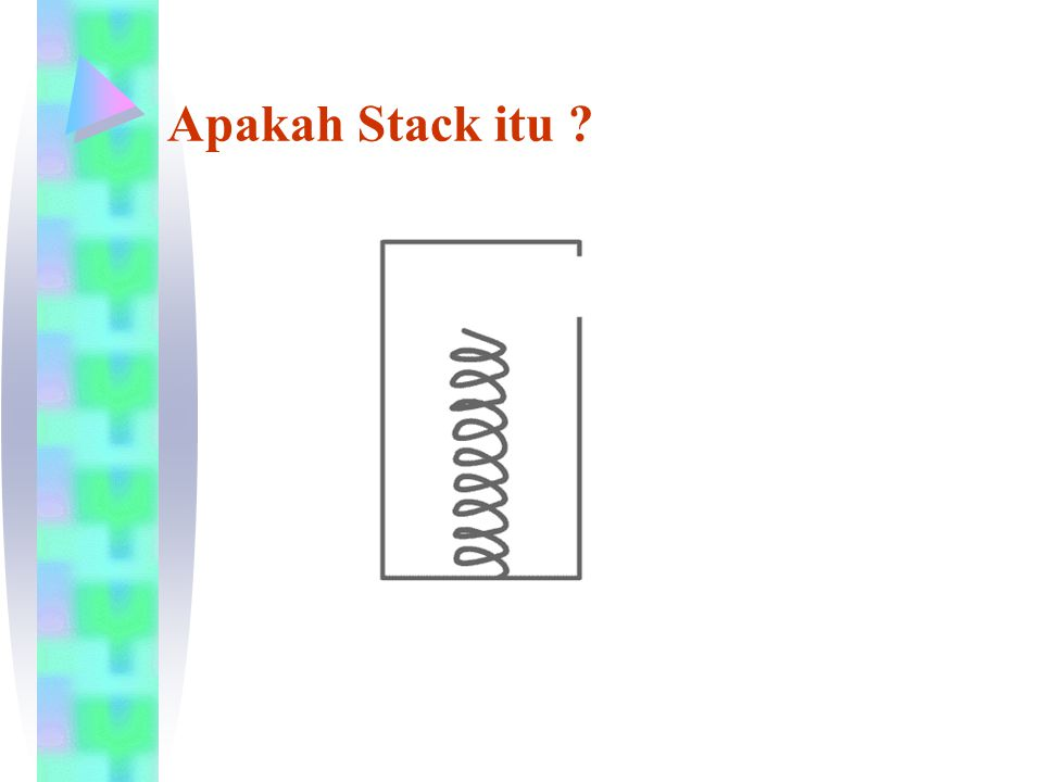 Operasi-operasi/fungsi Stack Init : digunakan untuk inisialisasi atau membuat stack baru yang masih kosong Push : digunakan untuk menambah item pada stack pada tumpukan paling atas Pop : digunakan untuk mengambil item pada stack pada tumpukan paling atas Clear : digunakan untuk mengosongkan stack IsEmpty : fungsi yang digunakan untuk mengecek apakah stack sudah kosong IsFull : fungsi yang digunakan untuk mengecek apakah stack sudah penuh