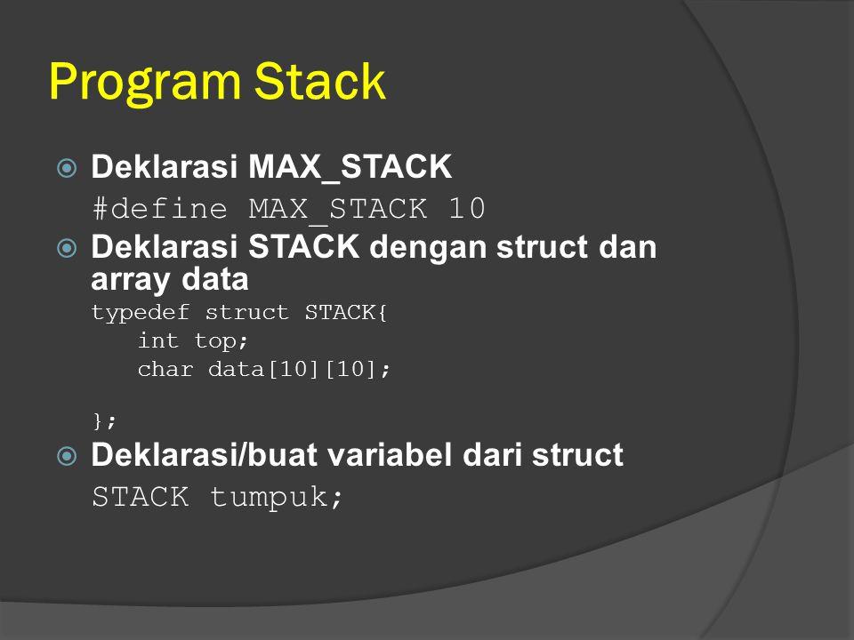 Program Stack  Deklarasi MAX_STACK #define MAX_STACK 10  Deklarasi STACK dengan struct dan array data typedef struct STACK{ int top; char data[10][1
