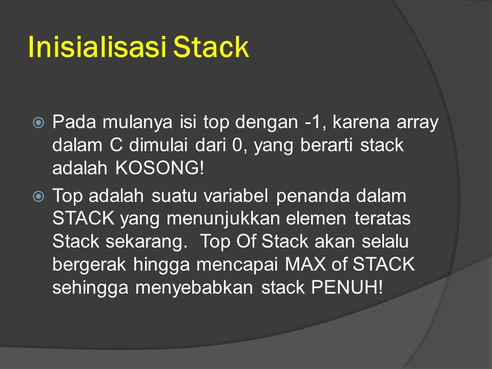 Inisialisasi Stack  Pada mulanya isi top dengan -1, karena array dalam C dimulai dari 0, yang berarti stack adalah KOSONG!  Top adalah suatu variabe