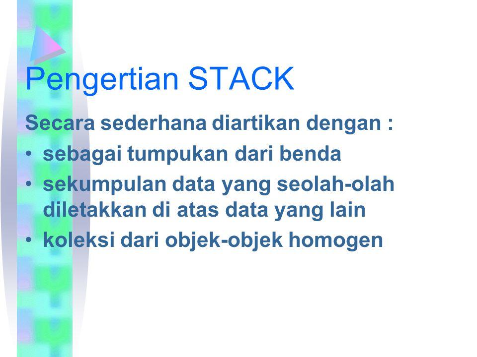 Pengertian STACK Secara sederhana diartikan dengan : sebagai tumpukan dari benda sekumpulan data yang seolah-olah diletakkan di atas data yang lain ko