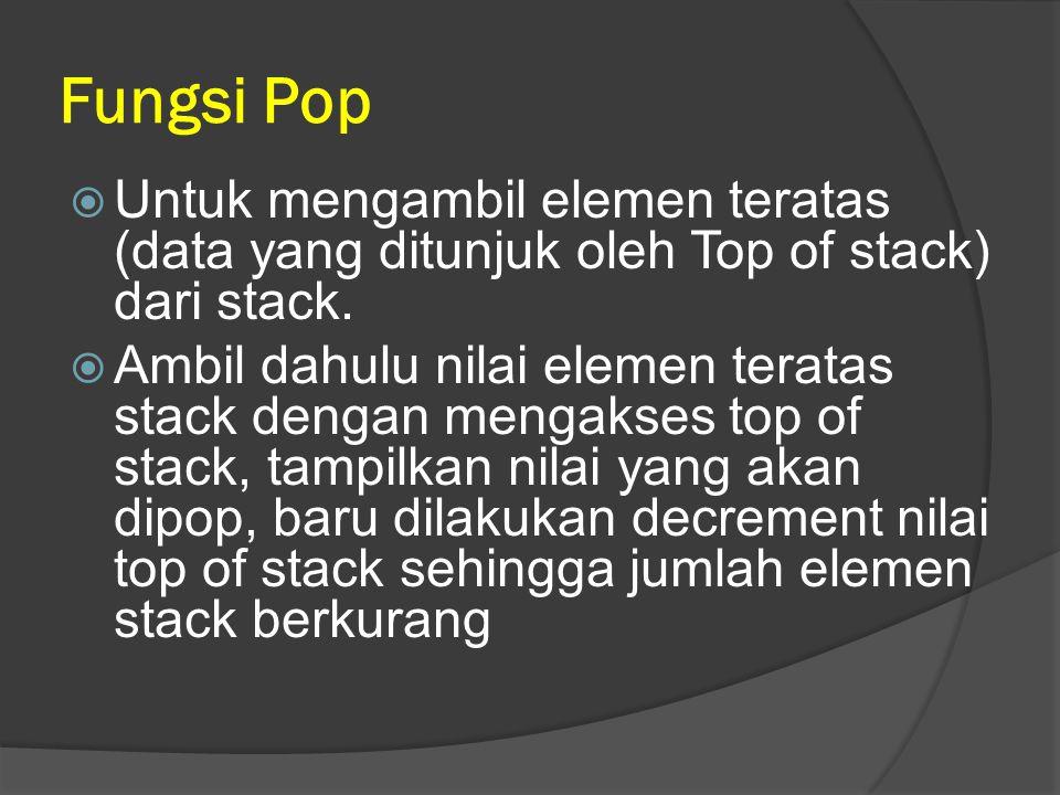 Fungsi Pop  Untuk mengambil elemen teratas (data yang ditunjuk oleh Top of stack) dari stack.  Ambil dahulu nilai elemen teratas stack dengan mengak