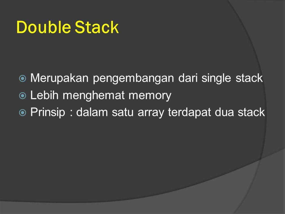 Double Stack  Merupakan pengembangan dari single stack  Lebih menghemat memory  Prinsip : dalam satu array terdapat dua stack