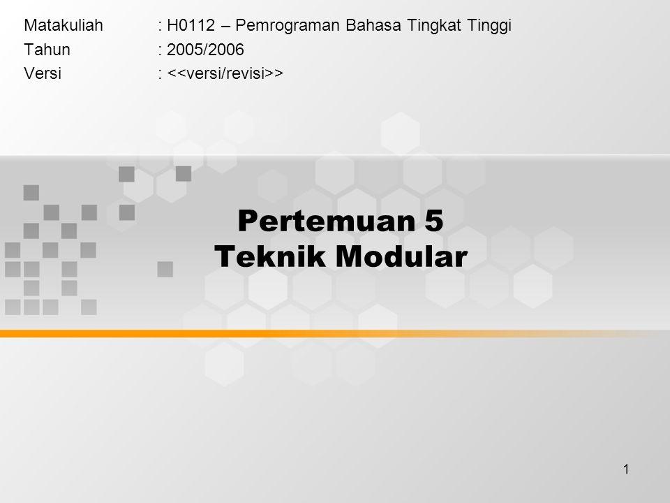 1 Pertemuan 5 Teknik Modular Matakuliah: H0112 – Pemrograman Bahasa Tingkat Tinggi Tahun: 2005/2006 Versi: >