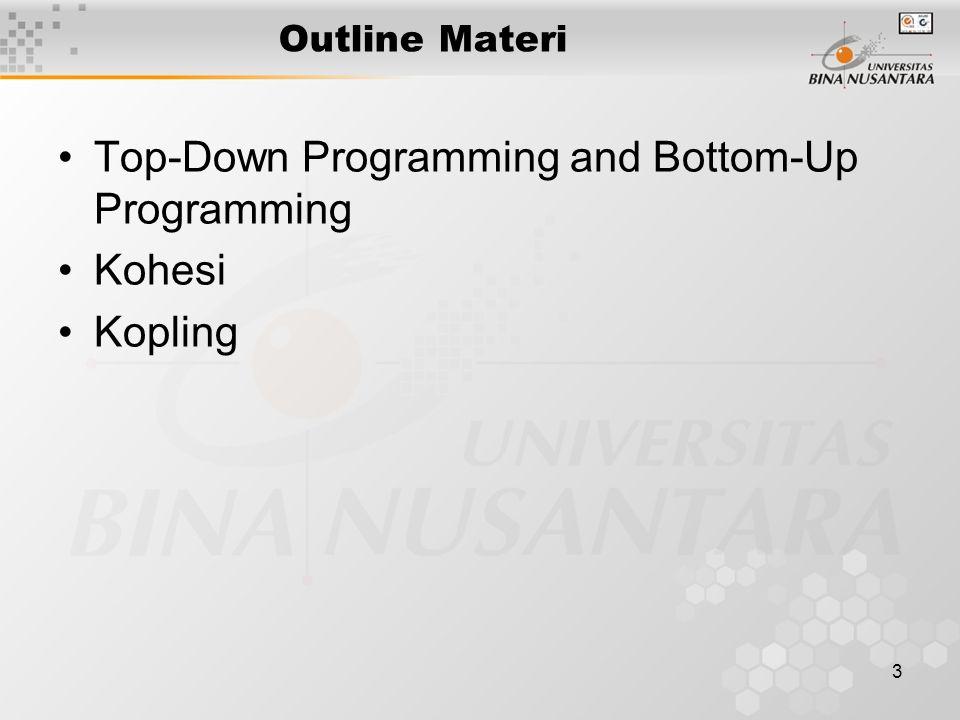 14 Kesimpulan Teknik Modular penting dalam membuat software yang kompleks Desain top-down, tetapi buat secara bottom-up Pemrograman Terstruktur yang baik adalah sangat kohesif dengan kopling renggang antar modul.