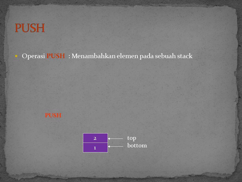 Operasi PUSH : Menambahkan elemen pada sebuah stack PUSH 1 2 top bottom
