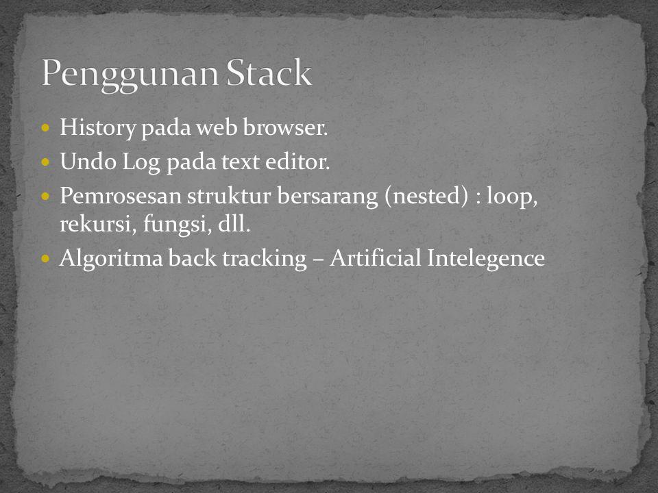 History pada web browser. Undo Log pada text editor. Pemrosesan struktur bersarang (nested) : loop, rekursi, fungsi, dll. Algoritma back tracking – Ar