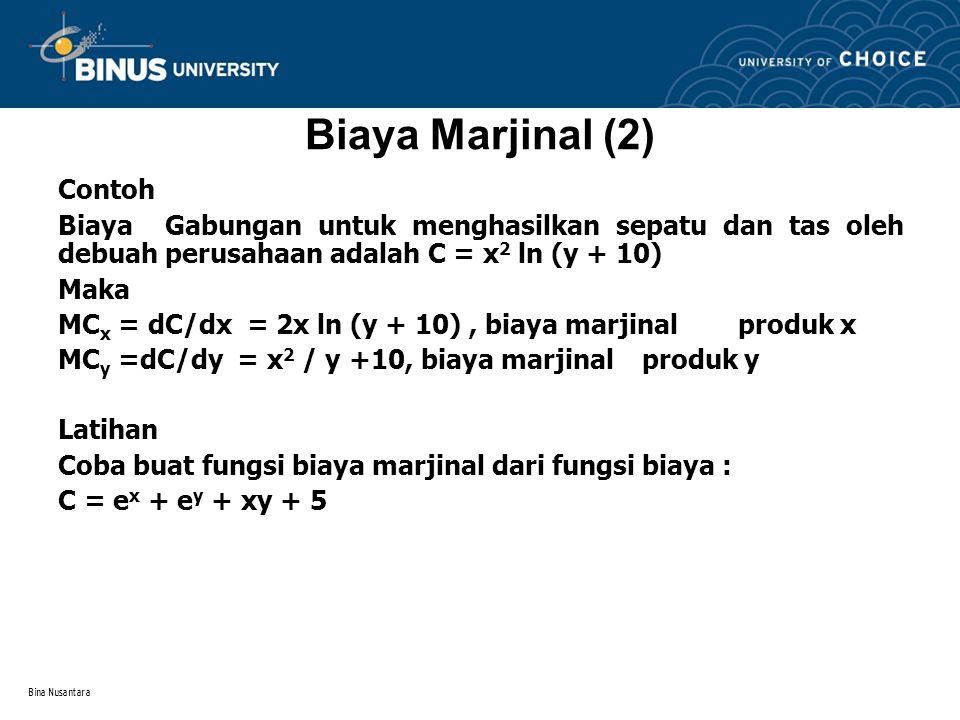 Bina Nusantara Permintaan Marjinal dan Elastisitas (1) Permintaan Marjinal Permintaan suatu barang tidak hanya dipengaruhi oleh harga dari barang yang bersangkutan.