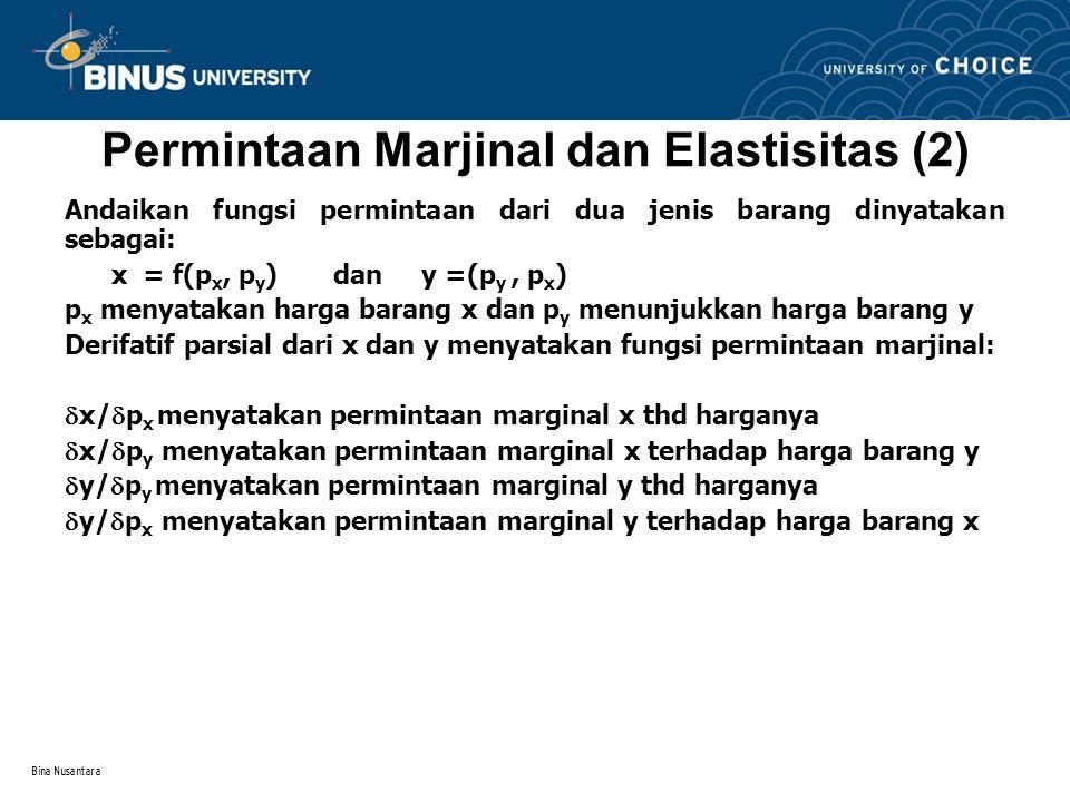 Bina Nusantara Permintaan Marjinal dan Elastisitas (3) Jika harga barang y turun menyebabkan kenaikan permintaan barang x dan sebaliknya maka kedua barang berhubungan secara komplementer.