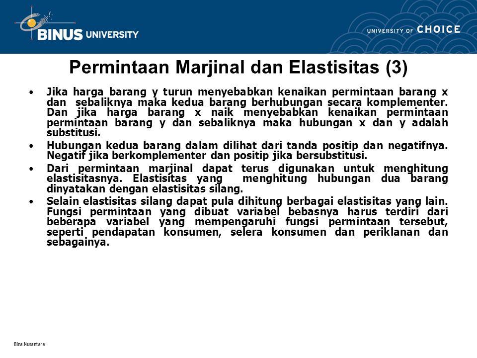 Bina Nusantara Permintaan Marjinal dan Elastisitas (4) Elastisitas Silang Misal diketahui fungsi permintaan : Q x = a - bP x + cP y + mI Q x menunjukkan permintaan barang x P x = harga barang x P y = harga barang y I = pendapatan konsumen Elastisitas silang barang x terhadap barang y Permintaan marginal  Q x /  P y = c maka Elastisitas silang  xy =  Q x /  P y.