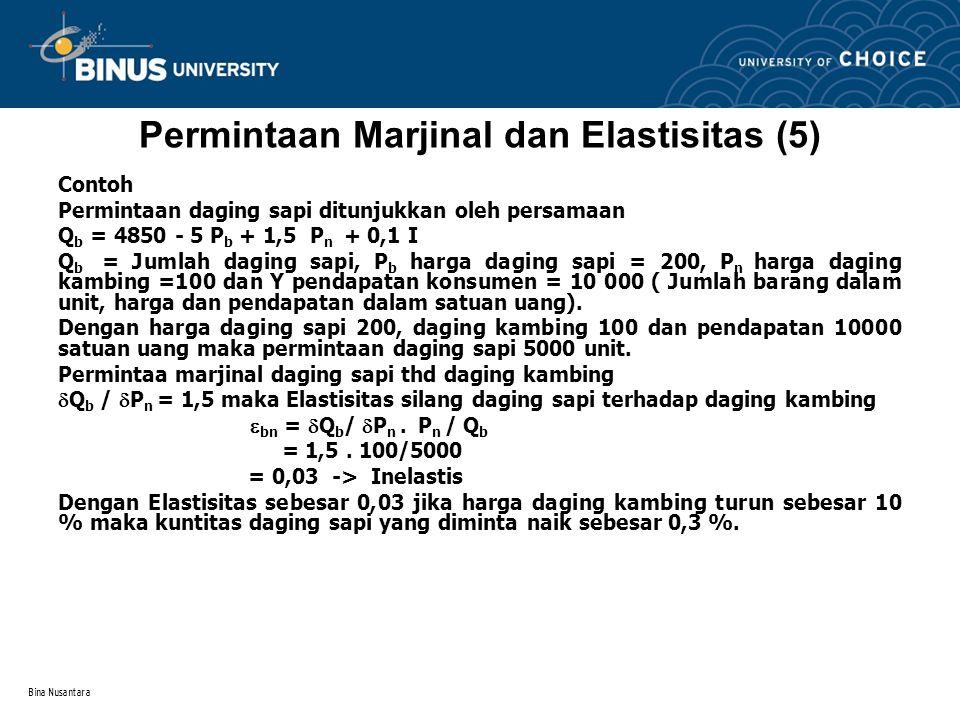 Bina Nusantara Permintaan Marjinal dan Elastisitas (6) Elastisitas pendapatan konsumen terhadap permintaan daging sapi Permintaan marjinal pendapatan  Q b /  I = 0,1 maka Elastisitas pendapatan  i =  Q b /  I.