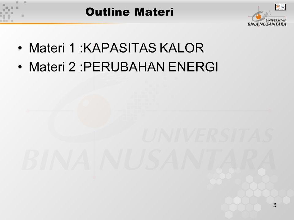 3 Outline Materi Materi 1 :KAPASITAS KALOR Materi 2 :PERUBAHAN ENERGI