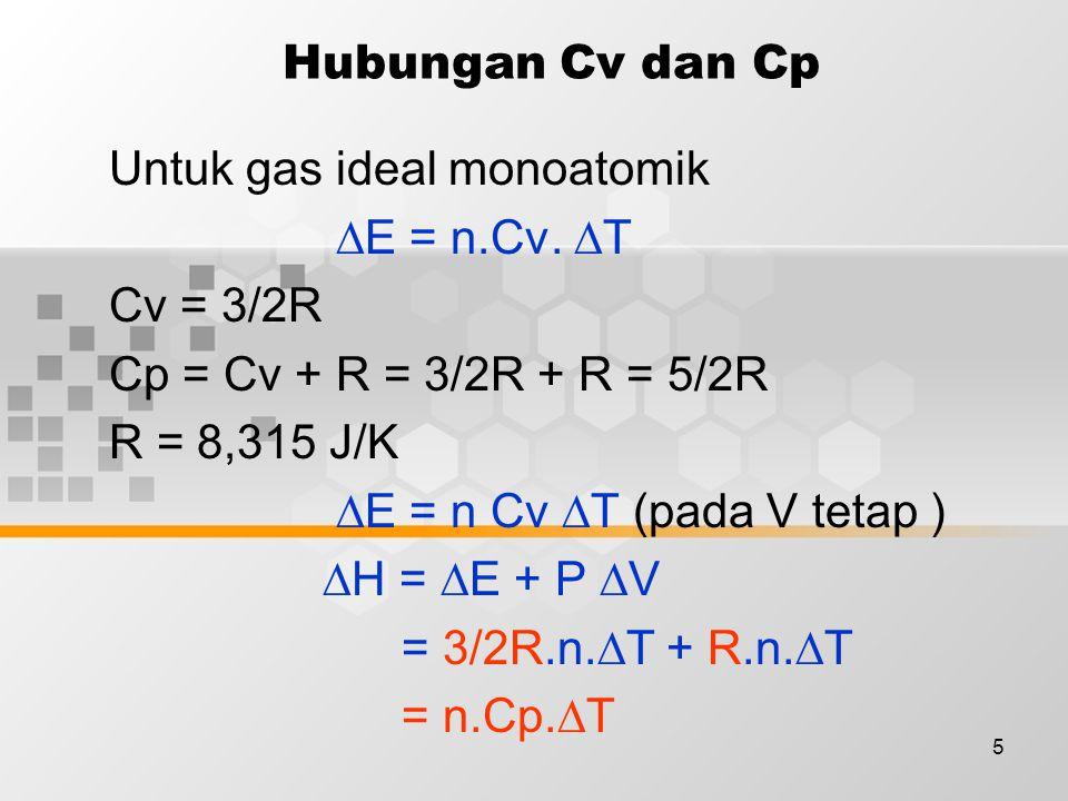 6 Contoh : 1 KJ kalor dipindahkan pada 2 mol gas Ar pada 298K, 1 atm.