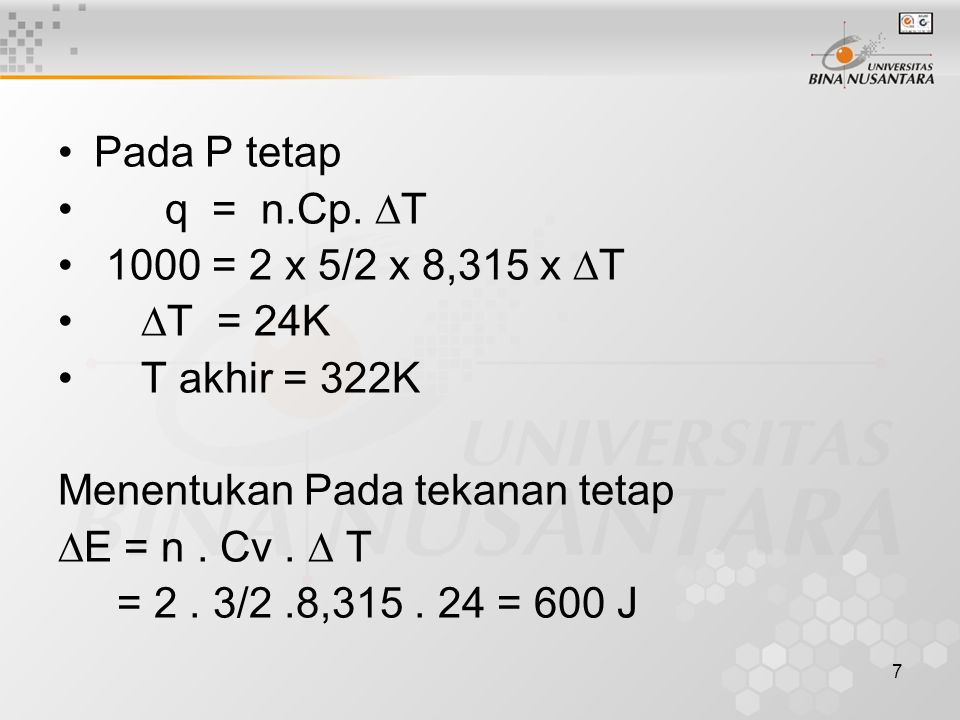 7 Pada P tetap q = n.Cp.