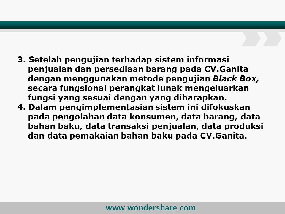www.wondershare.com 3. Setelah pengujian terhadap sistem informasi penjualan dan persediaan barang pada CV.Ganita dengan menggunakan metode pengujian