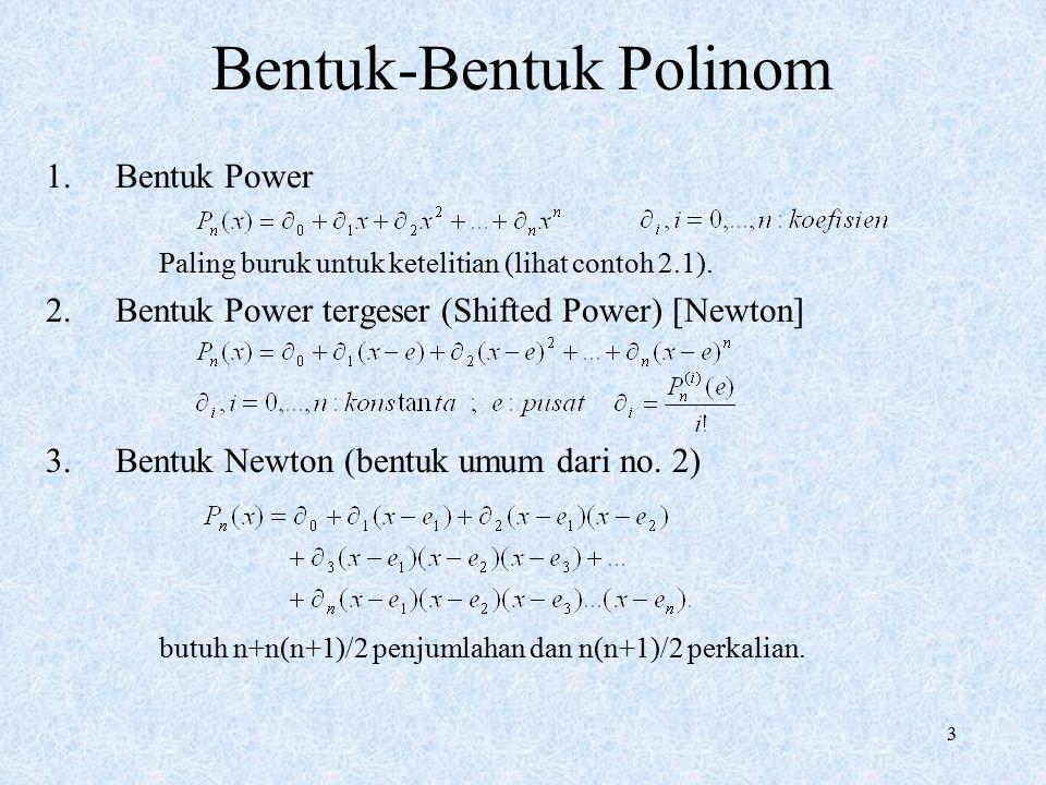 3 Bentuk-Bentuk Polinom 1.Bentuk Power Paling buruk untuk ketelitian (lihat contoh 2.1). 2.Bentuk Power tergeser (Shifted Power) [Newton] 3.Bentuk New
