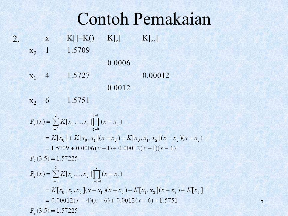 8 Algoritma Kalkulasi Koef.Newton  d = koefNew(x, d).