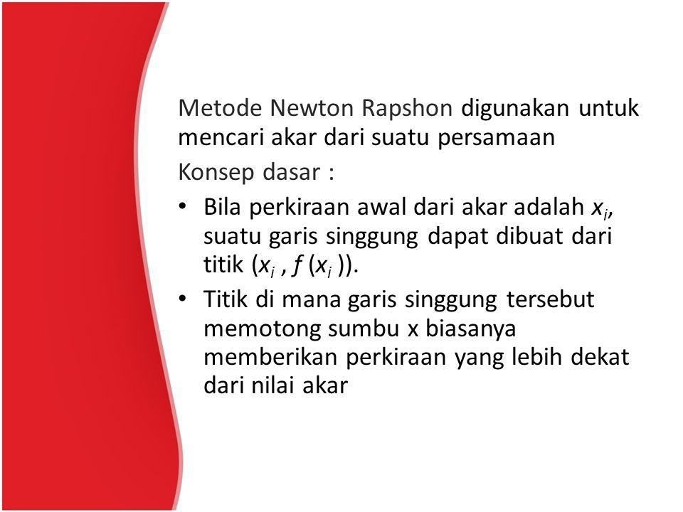 Metode Newton Rapshon digunakan untuk mencari akar dari suatu persamaan Konsep dasar : Bila perkiraan awal dari akar adalah x i, suatu garis singgung
